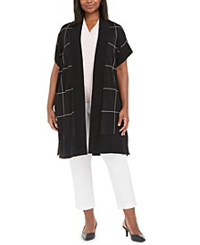 Plus Size Windowpane Plaid Sleeveless Cape