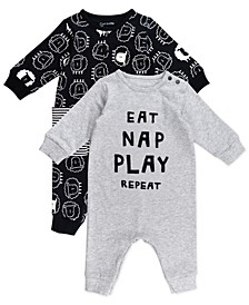 Baby Boy and Girl 2-Pack Sheep Print Unionsuits