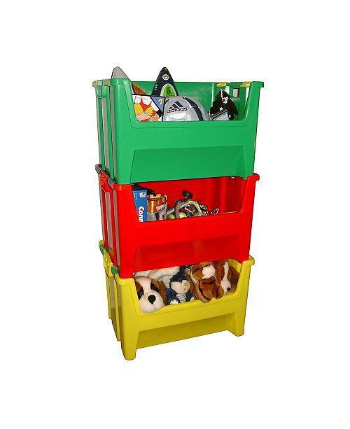 TAURUS Kids Pack N Stack Set of 3, 13 Gallon Bins