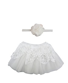 Popatu Baby Girl Tutu with Lace Overlay and Flower Headband