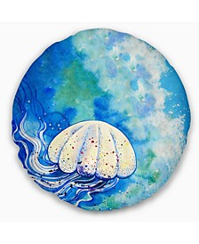 "Large Jellyfish Watercolor Abstract Throw Pillow - 16"" Round"
