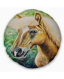 "Large Hafliner Horse Abstract Throw Pillow - 16"" Round"