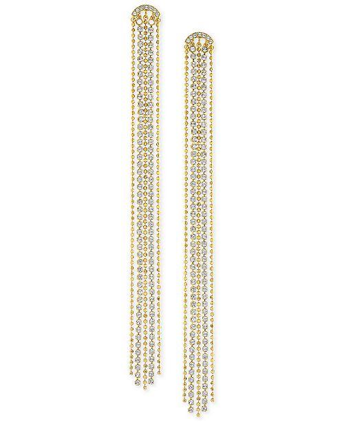 Swarovski Gold-Tone Ball-Chain & Crystal Linear Drop Earrings