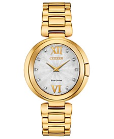 Eco-Drive Women's Capella Diamond-Accent Gold-Tone Stainless Steel Bracelet Watch 34mm