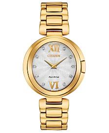 Citizen Eco-Drive Women's Capella Diamond-Accent Gold-Tone Stainless Steel Bracelet Watch 34mm