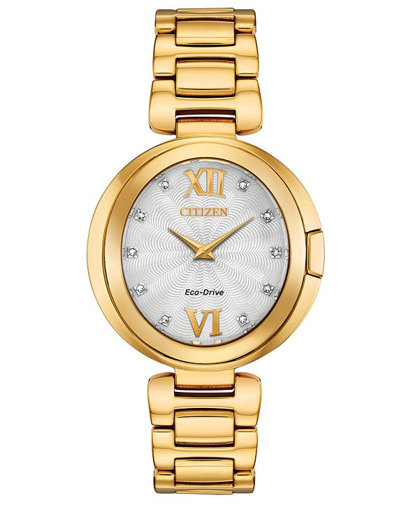 Citizen Eco-Drive Women's Capella Diamond-Accent Gold-Tone Stainless Steel Bracelet Watch 34mm