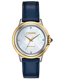 Eco-Drive Women's Ceci Diamond-Accent Blue Leather Strap Watch 32mm