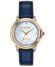 Citizen Eco-Drive Women's Ceci Diamond-Accent Blue Leather Strap Watch 32mm