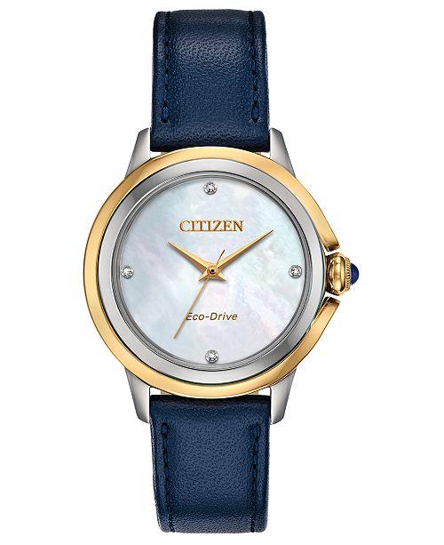 Citizen Eco-Drive Women's Ceci Diamond-Accent Blue Leather Strap Watch 32mm