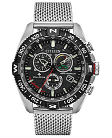 Citizen Eco-Drive Men's Chronograph Promaster Navihawk Stainless Steel Mesh Bracelet Watch 44mm