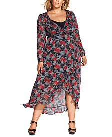 Trendy Plus Size Floral-Print High-Low Maxi Dress