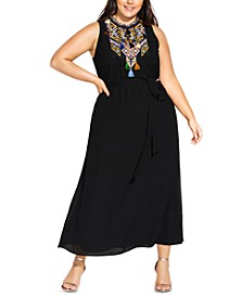 Trendy Plus Size Embroidered Maxi Dress