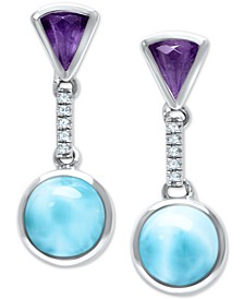 Larimar (8mm) & Multi-Gemstone Drop Earrings in Sterling Silver