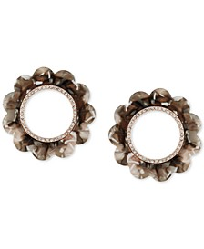 Rose Gold-Tone Pavé & Tortoise-Look Front-Facing Hoop Earrings
