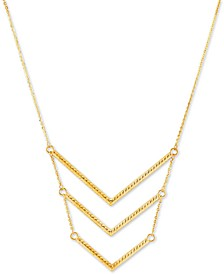"Triple Chevron 18"" Statement Necklace in 14k Gold"