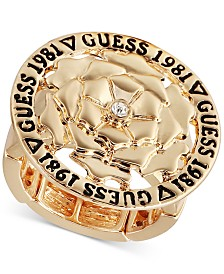GUESS Gold-Tone Crystal Flower Stretch Ring