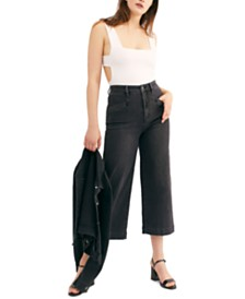Free People Lace-Up Cropped Jeans
