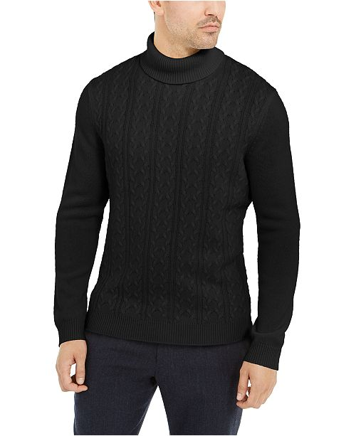 Tasso Elba Men's Cashmere Textured Turtleneck Sweater, Created for Macy's