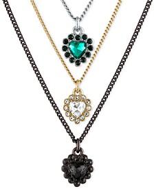 "Tri-Tone Crystal Heart Triple-Row Pendant Necklace, 14"" + 2"" extender"