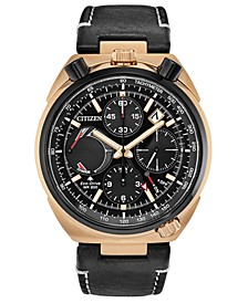 Eco-Drive Men's Chronograph Tsuno Racer Black Leather Strap Watch 45mm