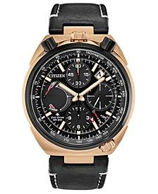 Eco-Drive Men's Chronograph Tsuno Racer Black Leather Strap Watch 45mm