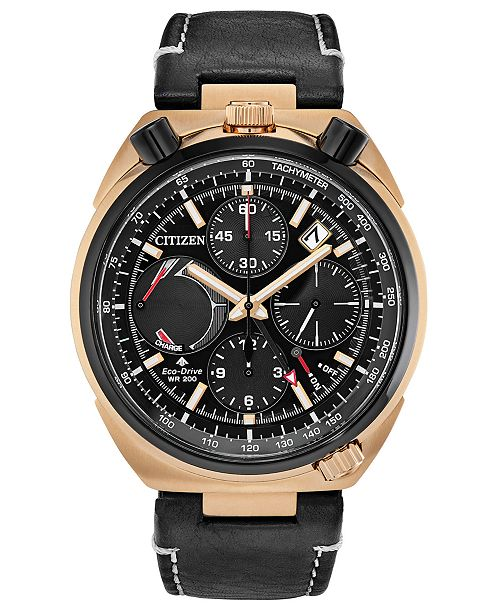 Citizen Eco-Drive Men's Chronograph Tsuno Racer Black Leather Strap Watch 45mm