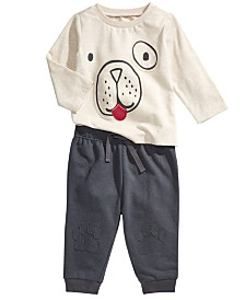 First Impressions Baby Boys Doggy T-Shirt & Paw Jogger Pants, Created For Macy's