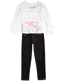 Little Girls Glitter T-Shirt & Bow Leggings