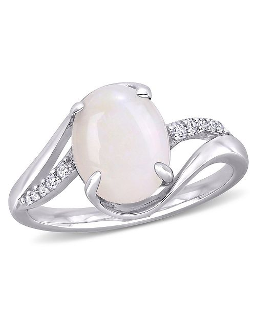 Macy's Opal (1-5/8 ct. t.w.) and Diamond (1/10 ct. t.w.) Oval Twist Ring in Sterling Silver