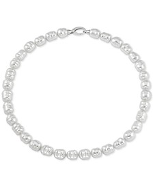 """Imitation White Baroque Pearl (10mm) Strand 17"""" Necklace in Sterling Silver"""