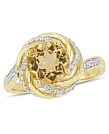 Citrine (1-4/5 ct. t.w.), White Topaz (1/7 ct. t.w.) and Diamond Accent Swirl Ring in 18k Yellow Gold Over Sterling Silver