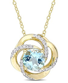 Blue Topaz (2-1/3 ct. t.w.) and White Topaz (1/5 ct. t.w.) Interlaced Floral Swirl Necklace in 18k Yellow Gold Over Sterling Silver