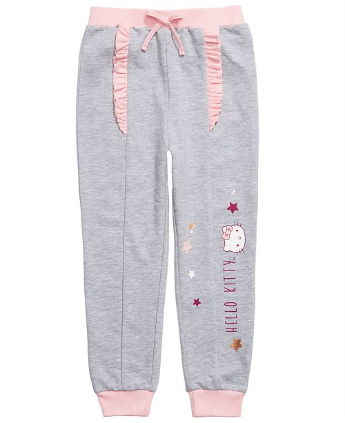 Hello Kitty Little Girls Ruffled Star-Print Jogger Pants