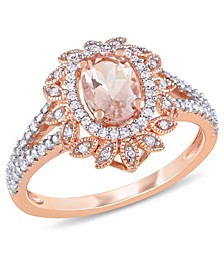 Morganite (3/4 ct. t.w.) and Diamond (1/5 ct. t.w.) Floral Halo Ring in 10k Rose Gold