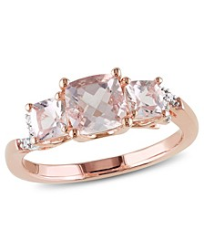 Morganite (1-2/5 ct. t.w.) and Diamond Accent 3-Stone Ring in 18k Rose Gold Over Silver