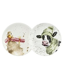 Wrendale Coupe Plate Set (Duck & Cow)