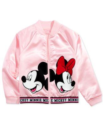 Big Girls Minnie & Mickey Mouse Satin Bomber Jacket