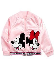 Disney Big Girls Minnie & Mickey Mouse Satin Bomber Jacket