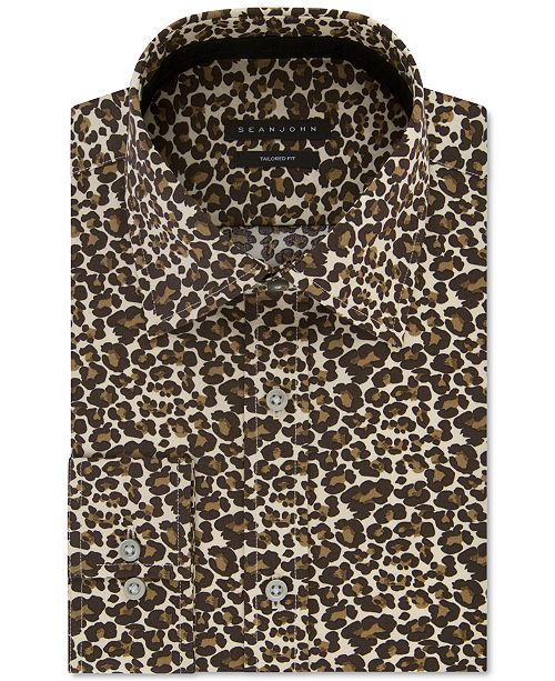 Sean John Men's Classic/Regular Fit Print Dress Shirt