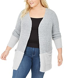 Plus Size Contrast 2-Pocket Sweater Cardigan