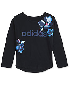 adidas Little Girls Floral Drop-Shoulder T-Shirt