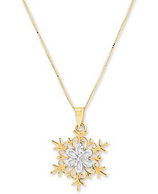 "Snowflake 18"" Pendant Necklace in 14k Gold"