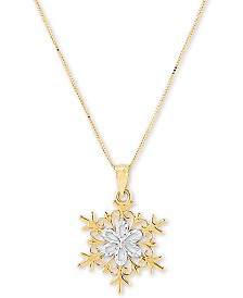 """Snowflake 18"""" Pendant Necklace in 14k Gold"""