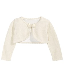 Bonnie Baby Baby Girls Metallic Bow-Trim Cardigan