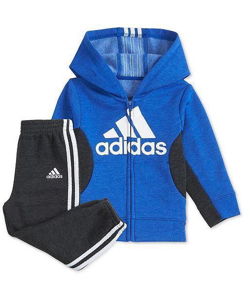 adidas Little Boys 2-Pc. Fleece Hoodie & Jogger Pants Set