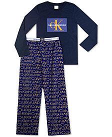 Calvin Klein Big Boys 2-Pc. Logo Fleece Pajamas Set