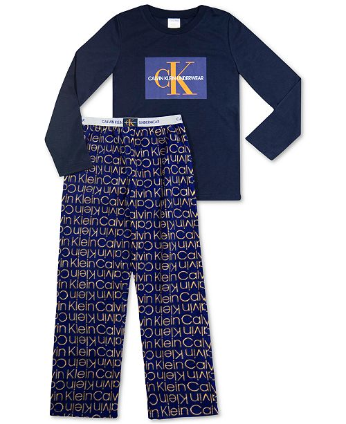 Calvin Klein Big Boys 2-Pc. Logo Fleece Pajamas Set