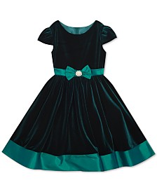 Rare Editions Little Girls Velvet Bow Dress