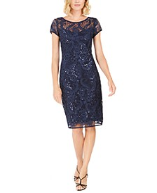 Petite Floral Sequin Sheath Dress