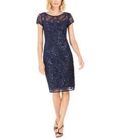 Connected Floral Sequin Sheath Dress, Created For Macy's